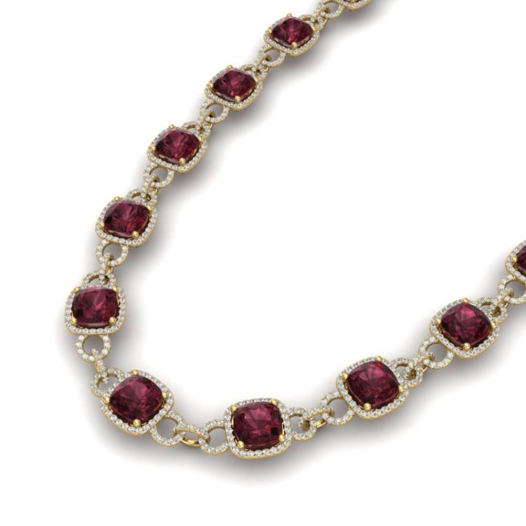 66 CTW Garnet & VS/SI Diamond Necklace 14K Yellow Gold - REF-794W5F - 23045