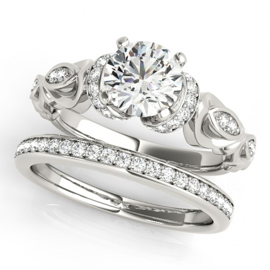 1.15 CTW Certified VS/SI Diamond Solitaire 2Pc Wedding Set Antique 14K White Gold - REF-210K2W - 31472