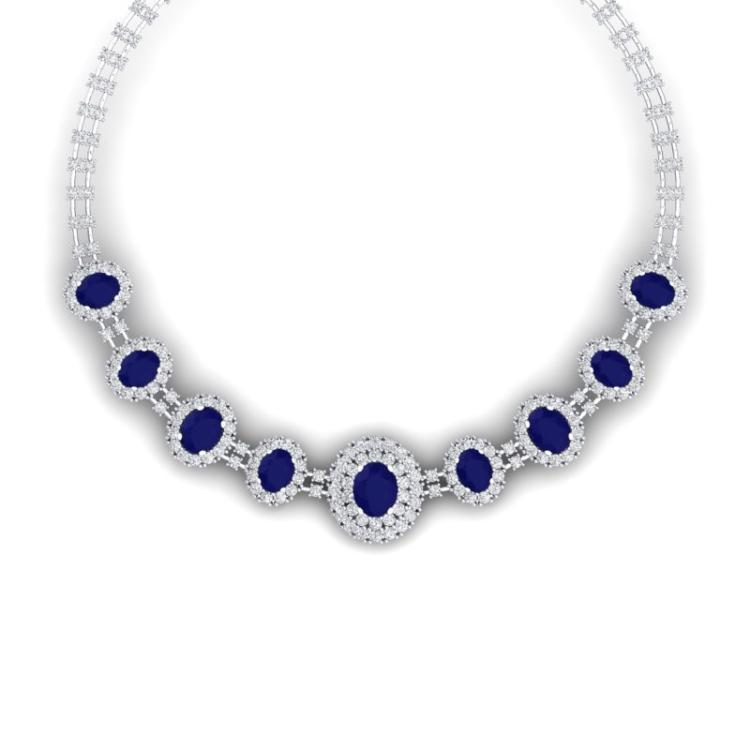 45.69 CTW Royalty Sapphire & VS Diamond Necklace 18K White Gold - REF-1581A8X - 38796