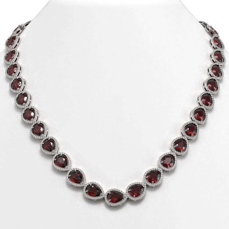 36.8 CTW Garnet & Diamond Halo Necklace 10K White Gold - REF-592H9A - 41231