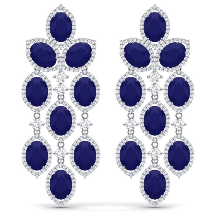 26.15 CTW Royalty Sapphire & VS Diamond Earrings 18K White Gold - REF-472Y8K - 38928