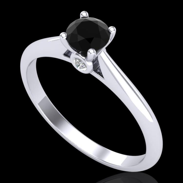 0.4 CTW Fancy Black Diamond Solitaire Engagement Art Deco Ring 18K White Gold - REF-33T6M - 38178