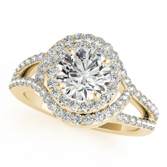 1.6 CTW Certified VS/SI Diamond Solitaire Halo Ring 18K Yellow Gold - REF-245K6W - 26996