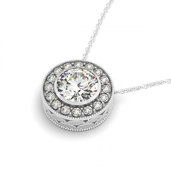 1.6 CTW VS/SI Diamond Solitaire Halo Necklace 14K White Gold - REF-392N8Y - 29998