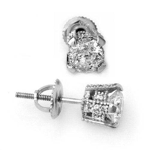 1.0 CTW Certified VS/SI Diamond Solitaire Stud Earrings 14K White Gold - REF-125W8F - 10503