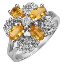 1.33 CTW Yellow Sapphire & Diamond Ring 10K White Gold - REF-32N8Y - 10773
