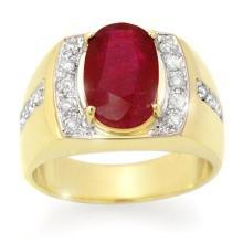 6.33 CTW Ruby & Diamond Men's Ring 10K Yellow Gold - REF-76F2N - 14487