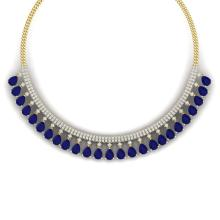 51.75 CTW Royalty Sapphire & VS Diamond Necklace 18K Yellow Gold - REF-981N8Y - 38879