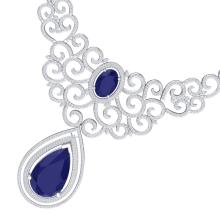87.52 CTW Royalty Sapphire & VS Diamond Necklace 18K White Gold - REF-1727Y3K - 39842