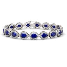 21.69 CTW Sapphire & Diamond Halo Bracelet 10K White Gold - REF-315F5N - 41096