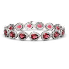 19.7 CTW Tourmaline & Diamond Halo Bracelet 10K White Gold - REF-391H5A - 41252