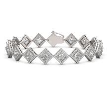 13.5 CTW Princess Cut Diamond Designer Bracelet 18K White Gold - REF-2508X4T - 42851