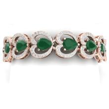 32.15 CTW Royalty Emerald & VS Diamond Bracelet 18K Rose Gold - REF-690N9Y - 38686