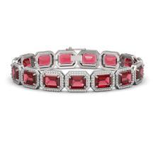36.51 CTW Tourmaline & Diamond Halo Bracelet 10K White Gold - REF-537W5F - 41540