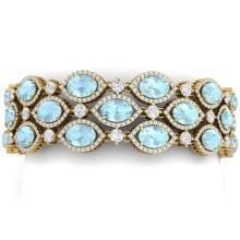 45.84 CTW Royalty Sky Topaz & VS Diamond Bracelet 18K Yellow Gold - REF-1018F2N - 38900