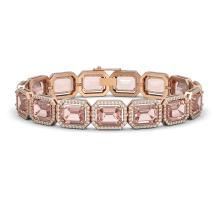 37.11 CTW Morganite & Diamond Halo Bracelet 10K Rose Gold - REF-787N3Y - 41535