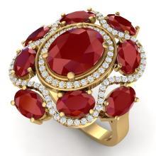 9.86 CTW Royalty Designer Ruby & VS Diamond Ring 18K Gold - REF-218X2Y - 39296