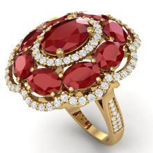 14.4 CTW Royalty Designer Ruby & VS Diamond Ring 18K Gold - REF-263Y6X - 39188