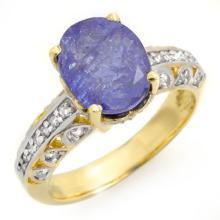 4.33 CTW Tanzanite & Diamond Ring 10K Yellow Gold - REF-114N2Y - 14416