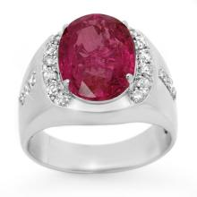 7.33 CTW Pink Sapphire & Diamond Men's Ring 10K White Gold - REF-154N5Y - 13417