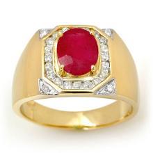 3.60 CTW Ruby & Diamond Men's Ring 14K Yellow Gold - REF-104K5W - 13481