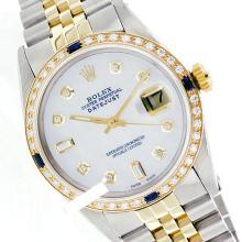 Rolex Men's 2Tone 14K Gold/ SS, QuickSet, Diam Dial & Diam/Sapphire Bezel - REF#474K5A