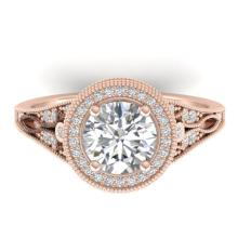 2.2 CTW CERTIFIED VS/SI DIAMOND ART DECO MICRO HALO RING Gold - REF#-681N6A