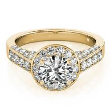 1.8 CTW Certified VS/SI Diamond Bridal Solitaire Halo Ring 18K Yellow Gold - REF#-425G3N