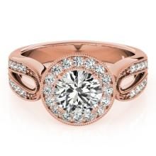 1.4 CTW Certified VS/SI Diamond Bridal Solitaire Halo Ring 18K Rose Gold Gold - REF#-418K2W