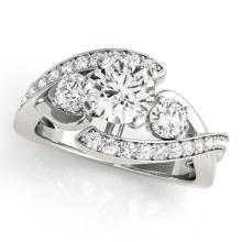 1.76 CTW Certified VS/SI Diamond Bypass Solitaire Bridal  Ring 18K White Gold - REF#-435H8M