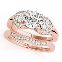 1.8 CTW Certified VS/SI Diamond 3 stone 2pc Set Solitaire Wedding  Gold - REF#-521K3W