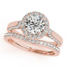2.44 CTW Certified VS/SI Diamond 2pc Wedding Set Solitaire Halo 14K Gold - REF#-580K8W