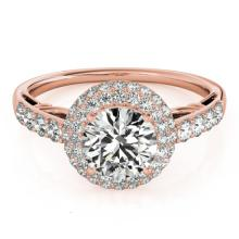 1.65 CTW Certified VS/SI Diamond Bridal Solitaire Halo Ring 18K Rose Gold Gold - REF#-411W8G