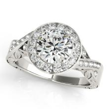 1.75 CTW Certified VS/SI Diamond Bridal Solitaire Halo Ring 18K White Gold - REF#-623M2R