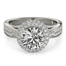 2.15 CTW Certified VS/SI Diamond Bridal Solitaire Halo Ring 18K White Gold - REF#-604M7R