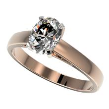 1.25 CTW Certified VS/SI Quality Oval Diamond Solitaire Ring Gold - REF#-372W3G