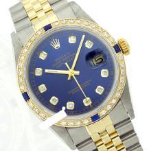 Rolex Men's 2Tone 14K Gold/ SS, QuickSet, Diam Dial & Diam/Sapphire Bezel - REF#458Y2N