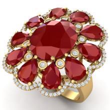 20.63 CTW Royalty Designer Ruby & VS Diamond Ring 18K Gold - REF-327F3M - 39143