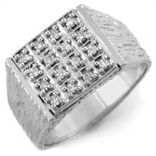 0.50 CTW Certified VS/SI Diamond Men's Ring 10K White Gold - REF-68K8W - 10684