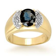 2.0 CTW Blue Sapphire & Diamond Ring 10K Yellow Gold - REF-61M8H - 13479
