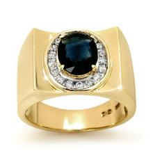 2.33 CTW Blue Sapphire & Diamond Men's Ring 10K Yellow Gold - REF-56M5H - 13488