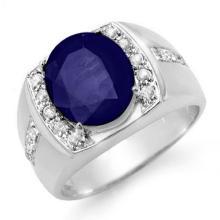 6.33 ctw Sapphire & Diamond Men's Ring 10K White Gold - REF#-76K2W