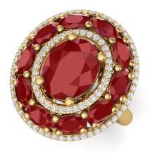 8.05 CTW Royalty Designer Ruby & VS Diamond Ring 18K Gold - REF-143R6K - 39242