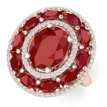 8.05 CTW Royalty Designer Ruby & VS Diamond Ring 18K Gold - REF-143W6H - 39241