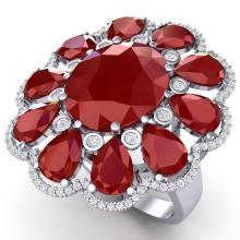 20.63 CTW Royalty Designer Ruby & VS Diamond Ring 18K Gold - REF-327Y3X - 39141