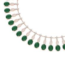 65.62 CTW Royalty Emerald & VS Diamond Necklace 18K Rose Gold - REF-1254X5T - 39121