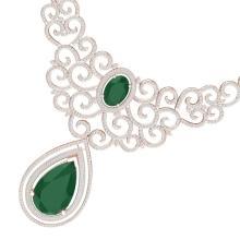 87.52 CTW Royalty Emerald & VS Diamond Necklace 18K Rose Gold - REF-2000W2F - 39837