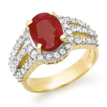 4.70 CTW Ruby & Diamond Ring 14K Yellow Gold - REF-140H9A - 13151