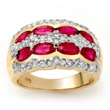 2.50 CTW Ruby & Diamond Ring 14K Yellow Gold - REF-105H5A - 14147