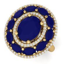 8.05 CTW Royalty Designer Sapphire & VS Diamond Ring 18K Yellow Gold - REF-153A6X - 39245